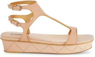 Valentino Double Buckle Platform Leather Sandals