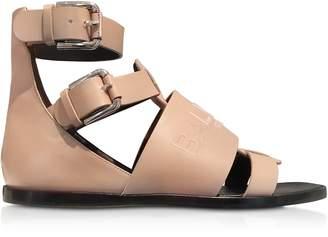 Balmain Powder Pink Leather Clothilde Flat Sandals