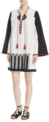Talitha Collection Moroccan-Embroidered Tie-Neck Wide-Sleeve Tunic