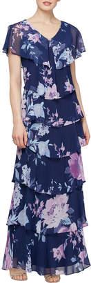 SLNY Long Tiered Flowy Dress