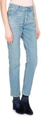 Balenciaga High-Waist Denim Jeans, White