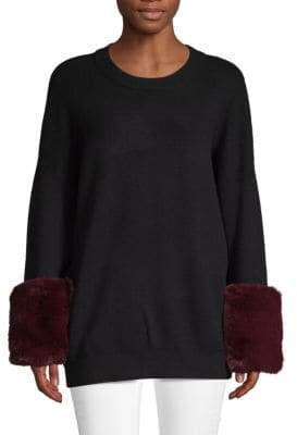Saks Fifth Avenue Faux Fur Cuff Sweater
