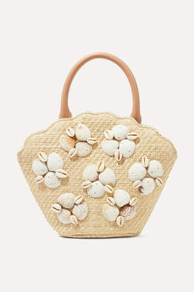 Loeffler Randall Aria Leather-trimmed Shell-embellished Woven Straw Tote - Beige