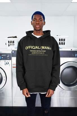 boohoo MAN Care Label Oversized Hoodie With Hood Print