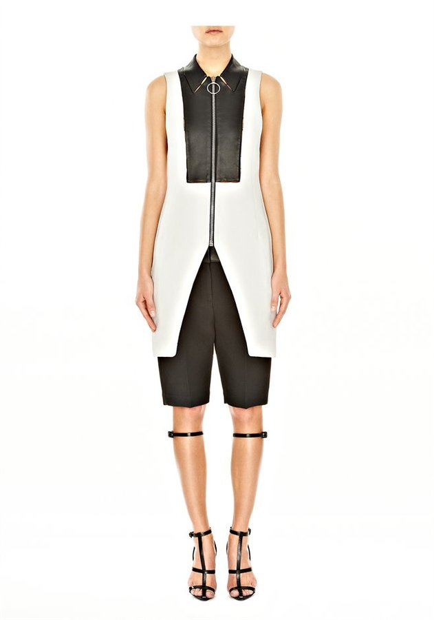 Alexander Wang Zippered Vest With Leather Bib & Hand Tack Detail