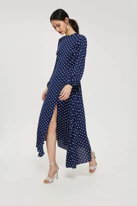 Topshop Polka Dot Print Open Back Maxi Dress