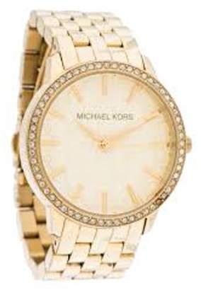 Michael Kors Women's MK3120 Gold 5-Link Round Argyle Glitz Watch