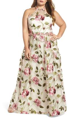 Mac Duggal Floral Halter Gown