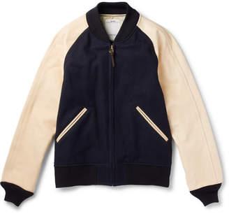Visvim Leather-Panelled Wool and Linen-Blend Bomber Jacket