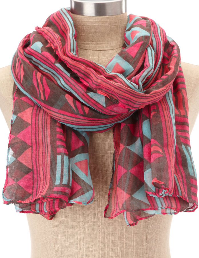 Mixed Geometric Print Scarf