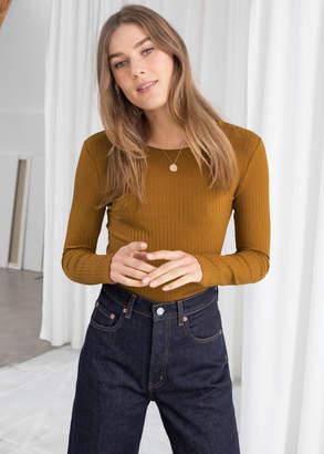 And other stories Ribbed Long Sleeve Top