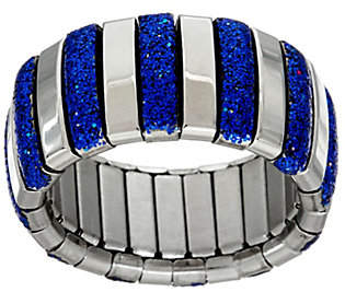 Steel by Design Stainless Steel Stretch Colored Glitter Ring