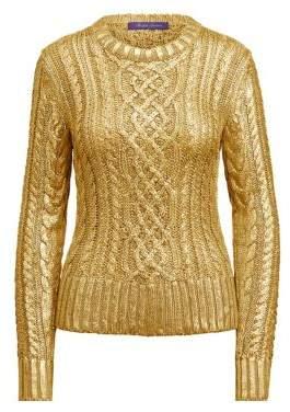 Ralph Lauren Women s Gold Foil Cable Knit Sweater - Gold - Size Large 3d030af072b9