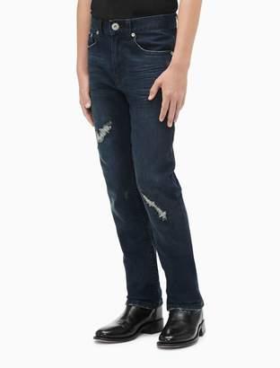 Calvin Klein boys distressed dark wash stretch denim jeans