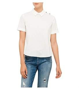 Armani Jeans Short Sleeve Pleated Cotton Poplin Shirt