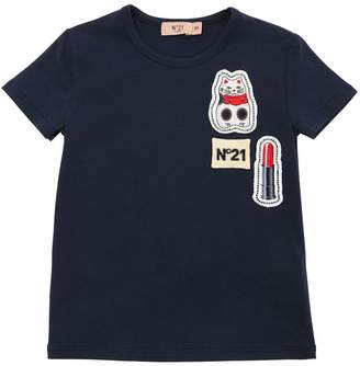 N°21 Cotton Jersey T-Shirt W/ Patches