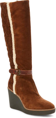 Aquatalia by Marvin K Chestnut Viviana Suede Weatherproof Wedge Boots