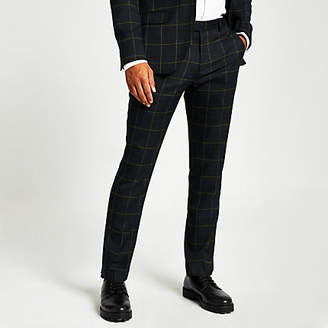 River Island Green check skinny fit suit trousers