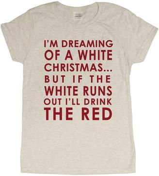 "Gildan Ladies ""White Christmas"" Wine Lovers Funny Christmas T-Shirt"