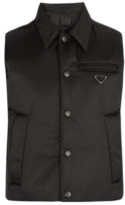 Prada Point Collar Quilted Down Gilet - Mens - Black