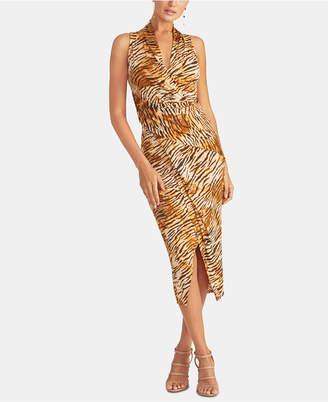 Rachel Roy Animal-Print Faux-Wrap Dress
