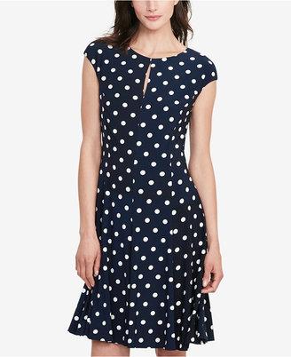Lauren Ralph Lauren Polka-Dot Jersey Dress $140 thestylecure.com