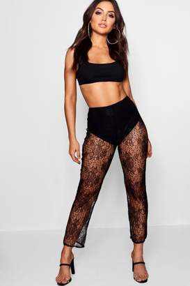 boohoo Lace Cropped Trousers