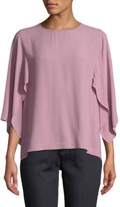 Eileen Fisher Cape-Sleeve Silk Top, Plus Size