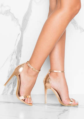 01336f9d7b Missy Empire Missyempire Lily Rose Gold Metallic Barely There Heels