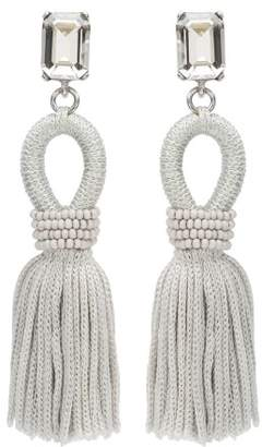 Oscar de la Renta Oyster Short Crystal & Silk Tassel Earrings