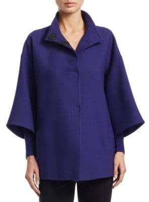 Akris Punto Three-Quarter Sleeve Wool Coat