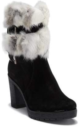 Manas Design FUR Suede Platform Block Heel Bootie