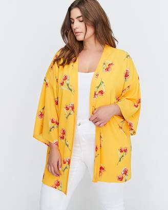 Michel Studio Short Sleeve Printed Short Kimono Blouse