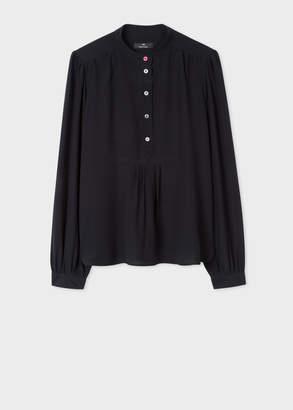 Paul Smith Women's Black Band-Collar Silk Shirt