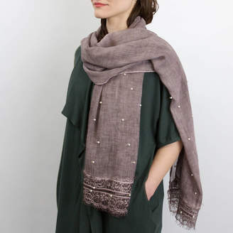 Studio Hop Soft Scarf With Pearl Lace Details