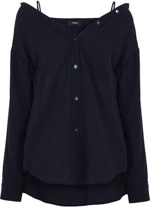Theory - Tamelee Off-the-shoulder Silk Top - Navy $325 thestylecure.com