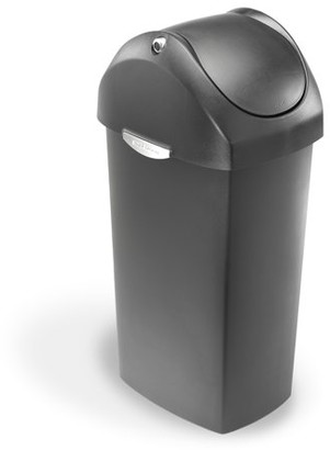 Simplehuman 60 Litre / 16 Gallon Swing Lid Trash Can Grey Plastic