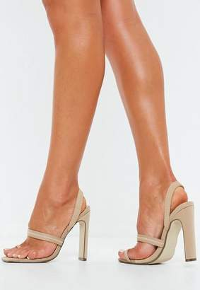 Missguided Nude Toe Post Illusion Slingback Heels