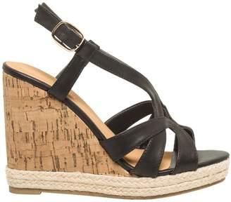 Le Château Women's Faux Leather T-Strap Wedge Sandal