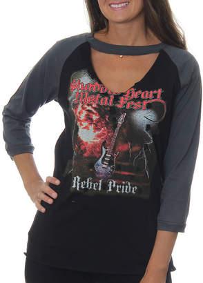 Asstd National Brand Freeze Juniors' Shadow Heart Metal Fist Rebel Pride Raglan Choker 3/4 Sleeve Graphic Top