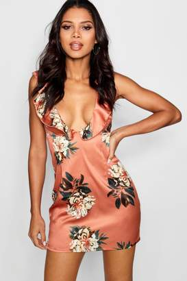 boohoo Floral Ruffle Detail Mini Dress