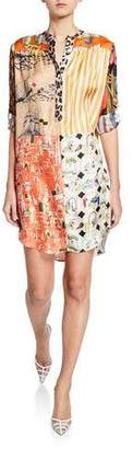 La Prestic Ouiston Madame Mix Calendar-Print Button-Placket Silk Twill Dress