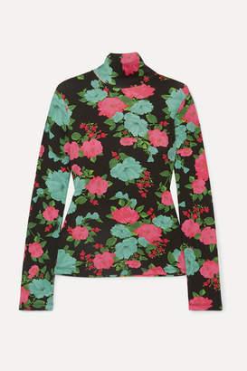 Erdem Kelly Floral-print Ribbed Stretch-cotton Turtleneck Top - Black