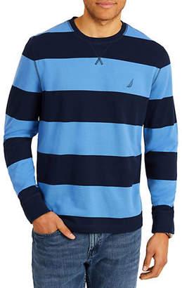 Nautica Rugby Striped Crewneck Cotton Sweater