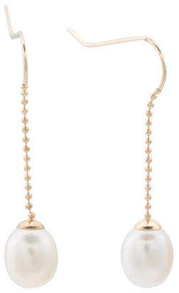 Made In Usa 14k Gold And Pearl Linear Chain Earrings
