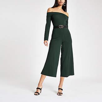 River Island Womens Green bardot neck wide leg jumpsuit