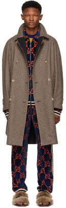 Gucci Reversible Brown Wool Plaid Hunting Coat