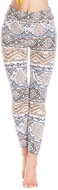 Brown & White Geometric Leggings - Women