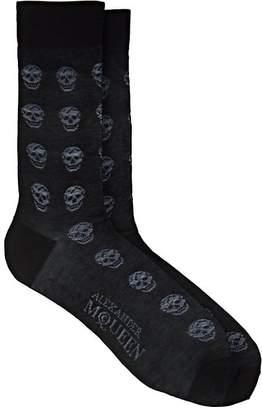 Alexander McQueen Men's Skull-Embroidered Cotton-Blend Mid-Calf Socks