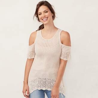 Lauren Conrad Women's Crochet Cold-Shoulder Sweater